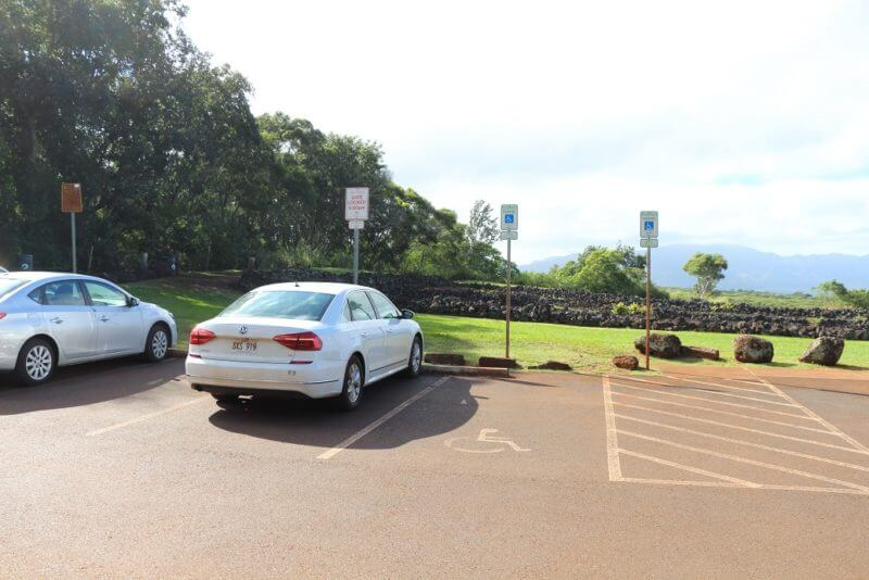 ワイメア渓谷の駐車場