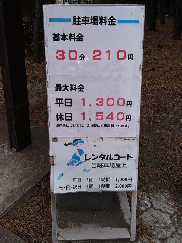 県立湘南海浜公園西部駐車場の料金看板